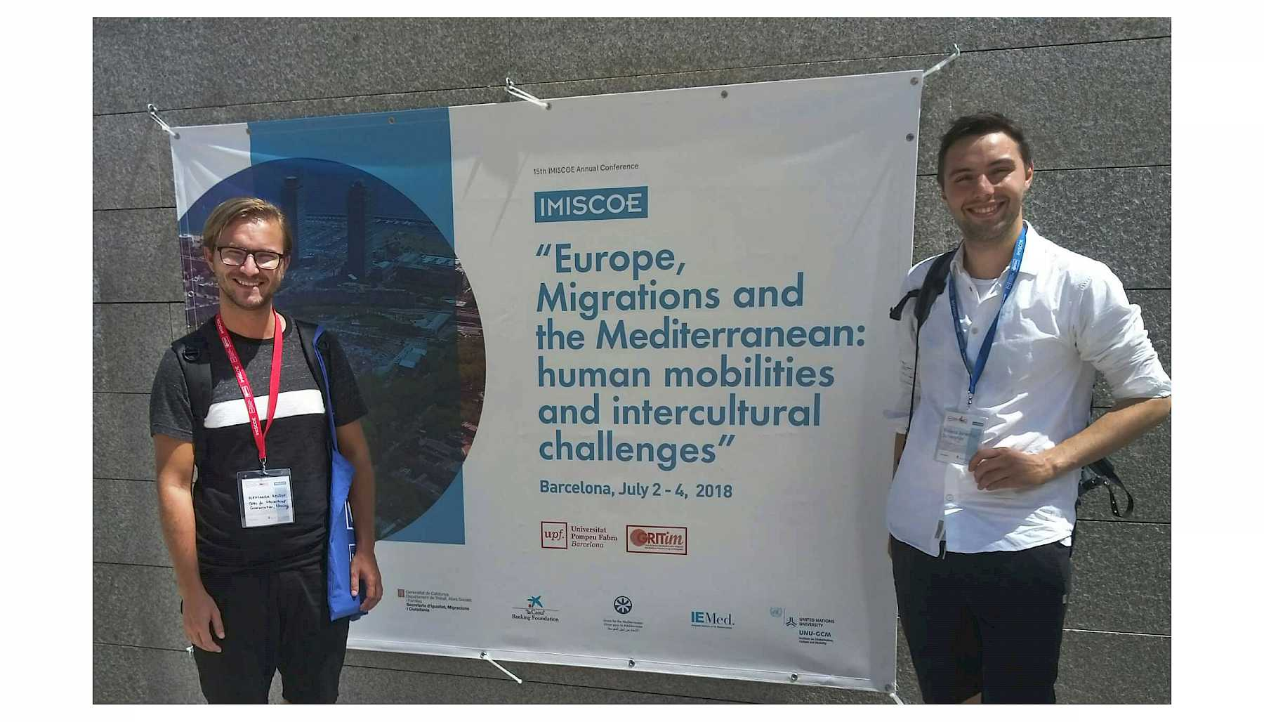 Mateus Schweyher (right) with SIK colleague Oleksandr Ryndyk (left) at the IMISCOE conference in Barcelona.