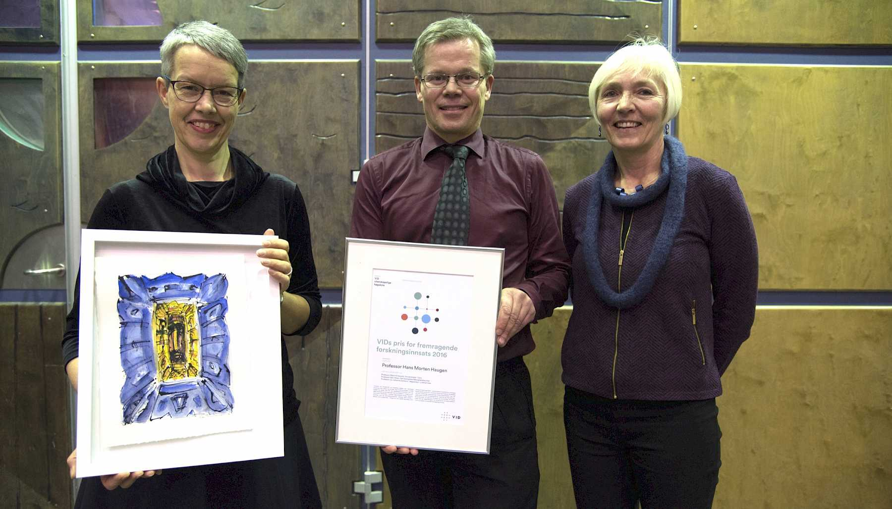 From left: Rector Ingunn Moser, Professor Hans Morten Haugen and jury president Professor Liv Johanne Solheim, Inland Norway University of Applied Sciences